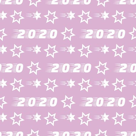Happy New Year 2020, Merry Christmas seamless pattern. Vector illustration with stars and numbers 2020. Festive background. Design for packaging paper, fabric, print. Ilustração