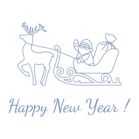 Happy New Year 2020, Merry Christmas vector illustration. Santa Claus with bag of gifts rides in sleigh pulled by a deer. Design for fabric, print, postcard.