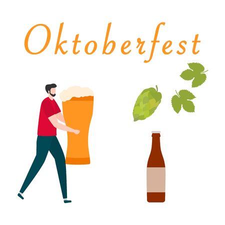 Festive vector illustration with man, beer, beer glass, bottle, hop cone, leaves. Beer party concept. Munich Beer Festival Oktoberfest. Design for web page, presentation, print.