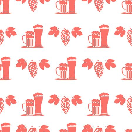 Festive seamless pattern with beer, mug, glass, hop cone, leaves. Beer party background. Munich Beer Festival Oktoberfest. Design for wrapping, fabric, print. Archivio Fotografico - 130162201