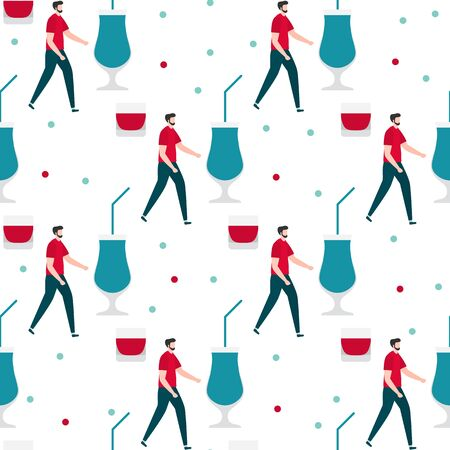 Festive seamless pattern. Vector illustration with man, glass. Party concept. Happy New Year 2020, birthday. Design for fabric, print, wrapping paper.