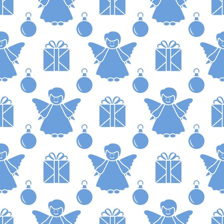 Happy new year 2020, Merry Christmas vector seamless pattern with angel, Christmas balls, gifts. Design for wrapping, fabric, print.