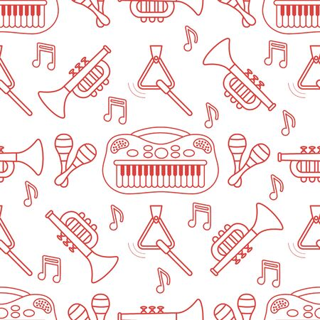 Vector seamless pattern with children's musical toys. Illustration with musical instruments. Maracas, synthesizer, trumpet, triangle and notes. Toys for kids. Design for packaging paper, fabric, print Stockfoto - 130315927