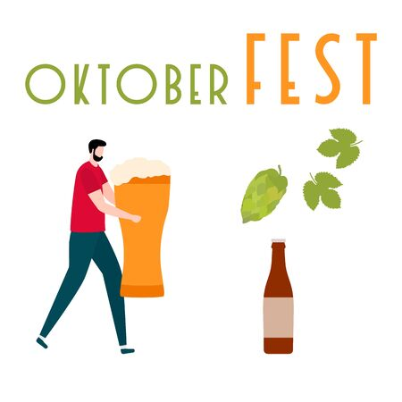 Festive vector illustration with man, beer, beer glass, bottle, hop cone, leaves. Beer party concept. Munich Beer Festival Oktoberfest. Design for web page, presentation, print.