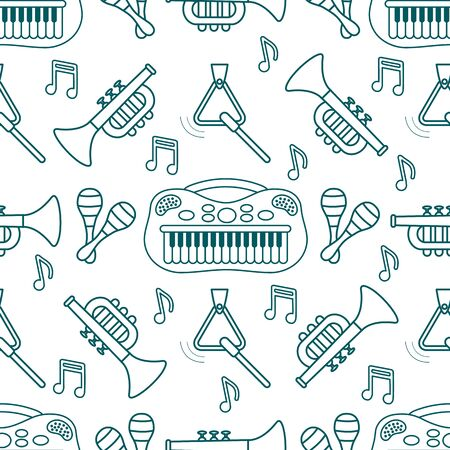 Vector seamless pattern with childrens musical toys. Illustration with musical instruments. Maracas, synthesizer, trumpet, triangle and notes. Toys for kids. Design for packaging paper, fabric, print Stock Illustratie