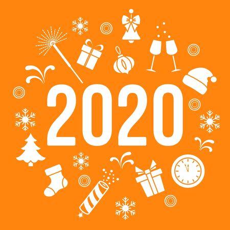Happy New Year 2020. Merry Christmas. Vector illustration. Gifts, fireworks, bells, Santa Claus hat, clock, Christmas tree, firecracker, Christmas sock, snowflakes. Design for print. Иллюстрация