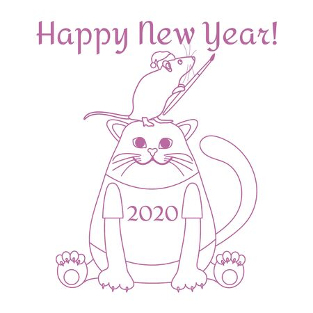 Happy new year 2020. Funny cartoon vector illustration with rat and cat. Holiday background. Rat zodiac sign, symbol of 2020 year. Chinese New Year. Design for postcard, banner, print.