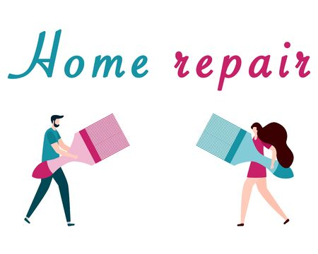 Vector illustration with people holding tools for painting works, home repair inscription. Painting, repair of premises. Building, construction, home repair tools. Design for web page, print. Çizim
