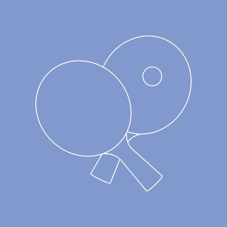Vector illustration with sports equipment for table tennis. Two crossed table tennis rackets and ball. Table tennis line icon. table tennis club. Sport. Healthy lifestyle. Design for app, websites, print. 矢量图像