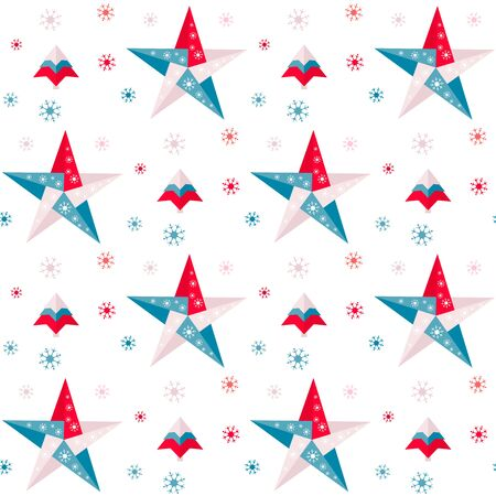Happy new year 2020, Merry Christmas. Vector seamless pattern with origami Christmas tree, stars and snowflakes. Festive background. Design for fabric, print, wrapping paper.