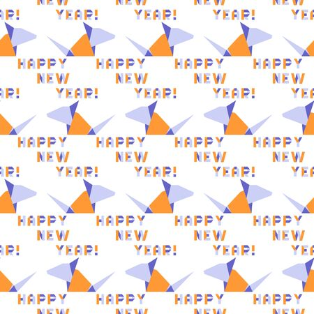Vector seamless pattern with origami inscription Happy new year and rat. Rat zodiac sign, symbol of 2020 on the Chinese calendar. Year of the rat. Chinese horoscope.