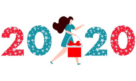 Happy New Year 2020, Merry Christmas vector illustration. Numbers 2020 decorated Christmas symbols, girl with gift. Festive background. Design for web page, print, postcard.