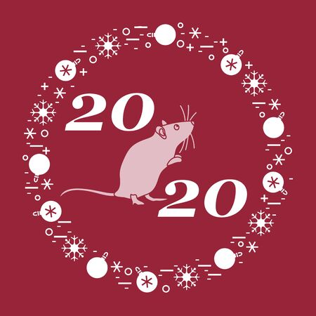 Happy new year Vector illustration with 2020 year numbers, rat, snowflakes, christmas balls Rat zodiac sign, symbol of 2020 Chinese New Year. Year of the rat, mouse Festive background Design for print  イラスト・ベクター素材