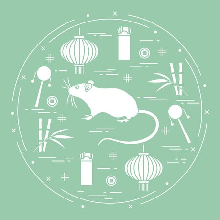 Happy new year. Vector illustration rat, bamboo, Chinese lantern, coin for luck, envelope, rattle drum. Holiday traditions, symbols Chinese New Year celebration. Rat zodiac sign, symbol of 2020 year  イラスト・ベクター素材