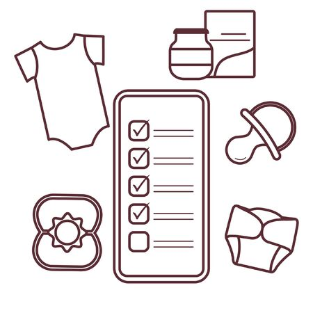 Vector illustration with smartphone with checklist, newborn baby accessories.  Bodysuit, baby food can, diapers, nipple, rattle. Online shopping.  イラスト・ベクター素材