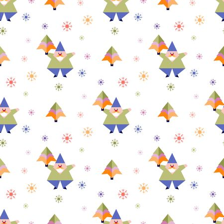 Happy new year 2020, Merry Christmas. Vector seamless pattern with origami Santa Claus, Christmas tree. Festive background. Design for fabric, print, wrapping paper.  イラスト・ベクター素材