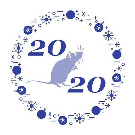 Happy new year Vector illustration with 2020 year numbers, rat, snowflakes, christmas balls Rat zodiac sign, symbol of 2020 Chinese New Year. Year of the rat, mouse Festive background Design for print Çizim