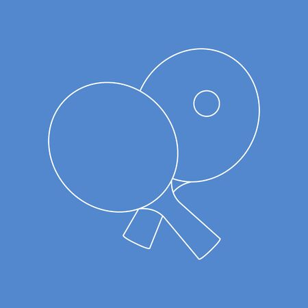 Vector illustration with sports equipment for table tennis. Two crossed  rackets and ball. Table tennis line icon. club. Sport. Healthy lifestyle. Design for app, websites, print.