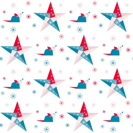 Happy new year 2020 Vector seamless pattern with origami rat, stars and snowflakes. Rat zodiac sign, symbol of 2020 on the Chinese calendar Year of the rat. Chinese horoscope. Design for fabric, print Çizim