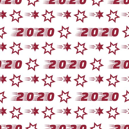 Happy New Year 2020, Merry Christmas seamless pattern. Vector illustration with stars and numbers 2020. Festive background. Design for packaging paper, fabric, print.  イラスト・ベクター素材