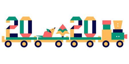 Szczęśliwego Nowego Roku. Ilustracja wektorowa z numerami origami 2020 roku, szczur w pociągu z zabawkami. Znak zodiaku szczur, symbol 2020 roku w chińskim kalendarzu. Rok szczura. Horoskop chiński. Świąteczne tło