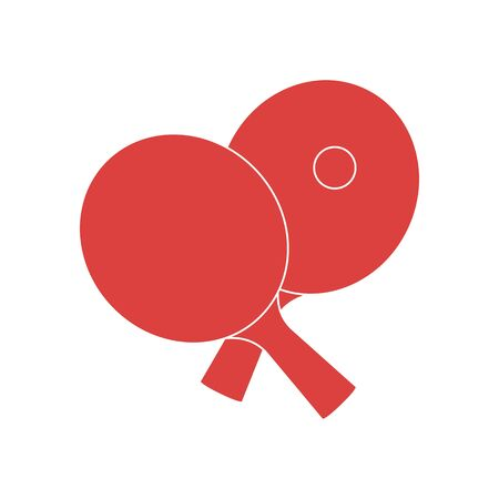 Vector illustration with sports equipment for table tennis. Two crossed table tennis rackets and ball. Table tennis line icon.table tennis club. Sport. Healthy lifestyle. Design for app, websites, pri  イラスト・ベクター素材