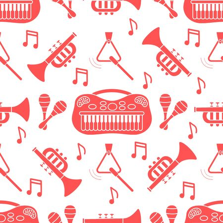 Vector seamless pattern with children's musical toys. Illustration with musical instruments. Maracas, synthesizer, trumpet, triangle and notes. Toys for kids. Design for packaging paper, fabric, print