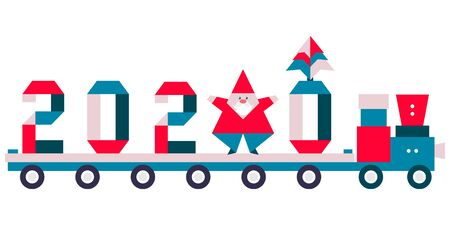 Happy new year 2020, Merry Christmas. Vector illustration with origami 2020 year numbers, Santa Claus, Christmas tree on a toy train. Festive background. Design for poster, party card, fabric, print.