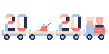 Happy new year. Vector illustration with origami 2020 year numbers, rat on a toy train. Rat zodiac sign, symbol of 2020 on the Chinese calendar. Year of the rat. Chinese horoscope. Festive background