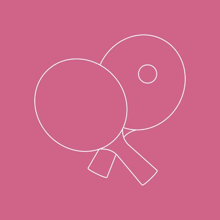 Vector illustration with sports equipment for table tennis. Two crossed ping pong rackets and ball. Table tennis line icon. Ping pong club. Sport. Healthy lifestyle. Design for app, websites, print.