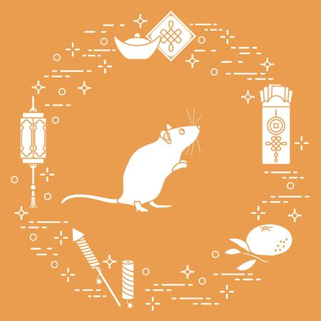 Happy new year. Vector illustration with rat, chinese lantern, tangerine, envelope, fireworks, ingot. Holiday traditions, symbols Chinese New Year celebration. Rat zodiac sign, symbol of 2020 year