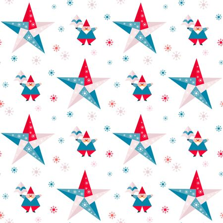 Happy new year 2020, Merry Christmas. Vector seamless pattern with origami Santa Claus, Christmas tree, stars and snowflakes. Festive background. Design for fabric, print, wrapping paper.