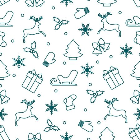 Merry Christmas Happy New Year 2020. Vector seamless pattern with Santa Claus reindeer, gifts, bells, Christmas tree, sock, mistletoe, sled, mittens, snowflakes. Festive background. Design for print.  イラスト・ベクター素材