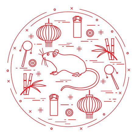 Happy new year. Vector illustration rat, bamboo, Chinese lantern, coin for luck, envelope, rattle drum. Holiday traditions, symbols Chinese New Year celebration. Rat zodiac sign, symbol of 2020 year Çizim