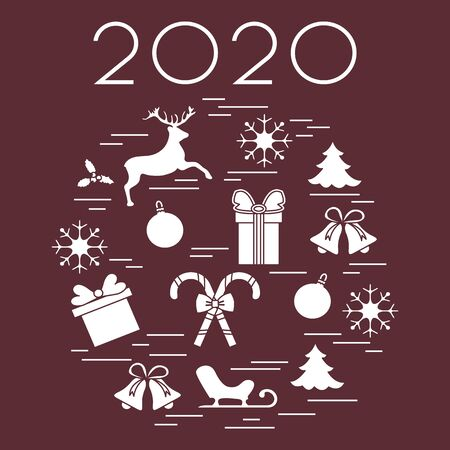 Happy New Year 2020, Merry Christmas vector illustration. Sleigh, deer, mistletoe, gift, snowflakes, striped sticks, Christmas tree, balls, bells. Design for fabric, print, postcard.