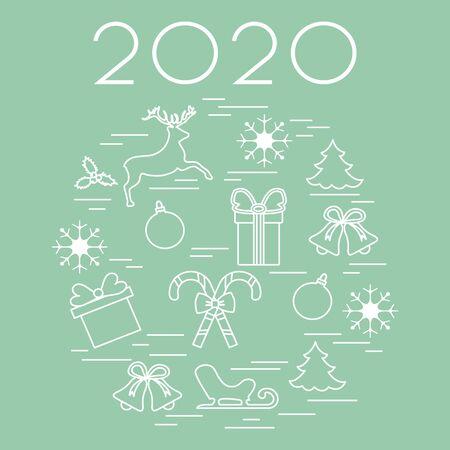 Happy New Year 2020, Merry Christmas vector illustration. Sleigh, deer, mistletoe, gift, snowflakes, striped sticks, Christmas tree, balls, bells. Design for fabric, print, postcard.