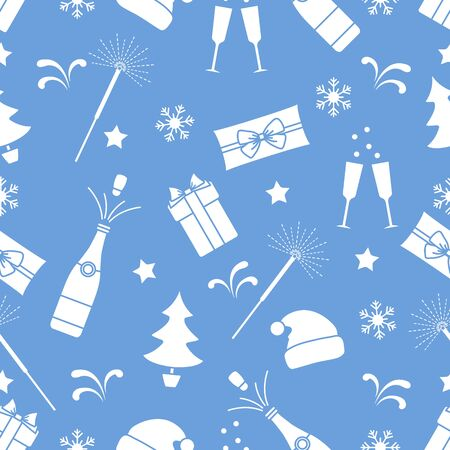 Merry Christmas Happy New Year 2020 Vector seamless pattern. Gifts, Santa Claus hat, sparkler, bottle, glasses, Christmas tree, snowflakes. Festive background. Design for fabric, print, wrapping paper  イラスト・ベクター素材