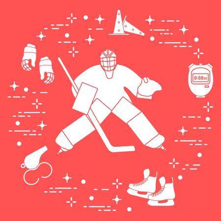 Vector illustration. Hockey goalkeeper, hockey stick, gloves, skates, stopwatch, trainer whistle, training cones. Winter sports background. Play hockey, training. Tournament, championship, competition