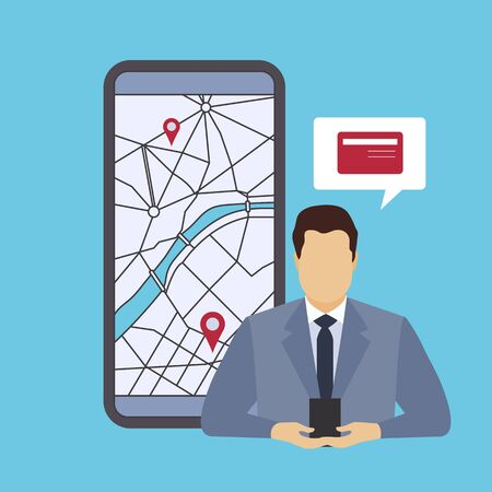 Vector illustration with businessmen looking for the nearest ATM ore bank branches on city map using mobile application on smartphone. Navigation in city. Design for websites, print, presentation. Ilustrace