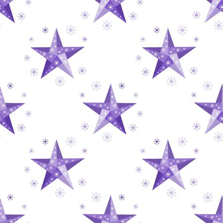 Happy new year 2020, Merry Christmas. Vector seamless pattern with origami stars and snowflakes. Festive background. Winter backdrop. Design for fabric, print, wrapping paper. Ilustrace