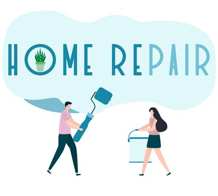Vector illustration with people holding tools for painting works, home repair inscription. Painting, repair of premises. Building, construction, home repair tools. Design for web page, print. Ilustração