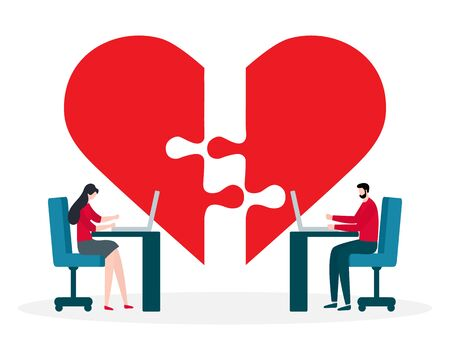 Vector illustration with online dating. Modern technology for dating. Virtual relationship and love. Communication between people through network. Design for website, app, banner, poster or print. Stock Illustratie