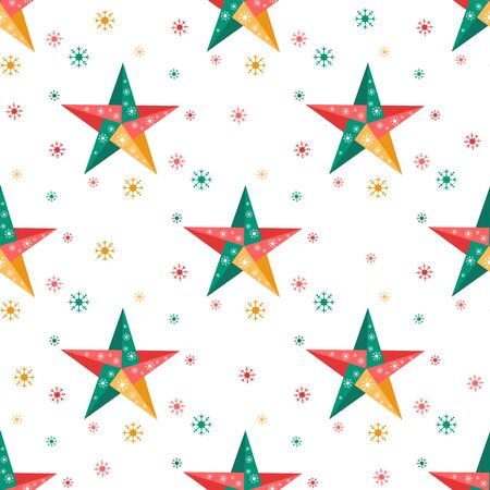 Happy new year 2020, Merry Christmas. Vector seamless pattern with origami stars and snowflakes. Festive background. Winter backdrop. Design for fabric, print, wrapping paper. Stock Illustratie