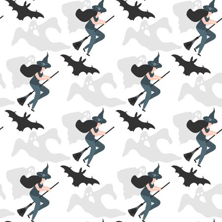 Halloween 2020 vector seamless pattern with witch in hat on broomstick, ghosts. Festive background. Design for party card, wrapping, fabric, print Stock Illustratie