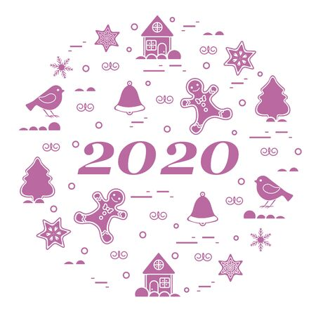 Happy New Year 2020 card. Merry Christmas. Vector illustration with gingerbread man, bell, house, bird, star, snowflake, Christmas tree. New year, festive background. Design for print.