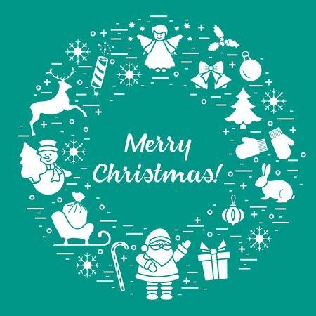 Merry Christmas vector illustration. Happy New Year 2020. Santa Claus, gift, candy cane, rabbit, mittens, bell, Christmas tree, angel, mistletoe, firecracker, deer, snowman, sleigh, snowflakes