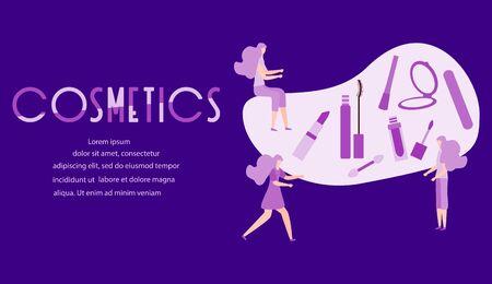 Vector illustration with girls, cosmetics inscription, mirror, lipstick, mascara, nail file, liquid eyeliner Beauty cosmetic salon Woman stuff, make up Decorative cosmetics Girls accessory style
