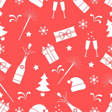 Merry Christmas Happy New Year 2020 Vector seamless pattern. Gifts, Santa Claus hat, sparkler, bottle, glasses, Christmas tree, snowflakes. Festive background. Design for fabric, print, wrapping paper Stock Illustratie