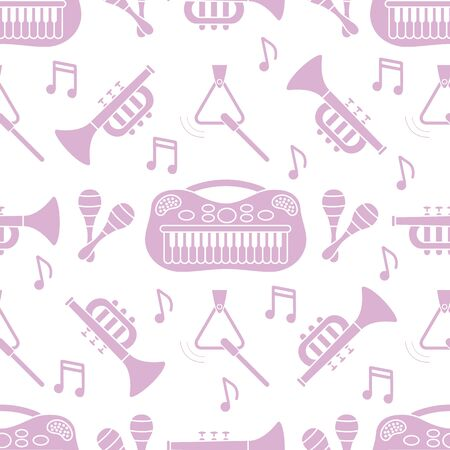 Vector seamless pattern with childrens musical toys. Illustration with musical instruments. Maracas, synthesizer, trumpet, triangle and notes. Toys for kids. Design for packaging paper, fabric, print Ilustração