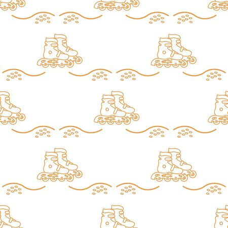 Vector seamless pattern with rollers. Athletic, healthy lifestyle for every person. Family vacation. Sports background. Design for packaging paper, fabric, print.